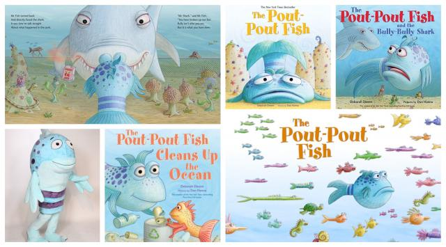 Photo Collage featuring the costume for The Pout-Pout Fish Character, Several book titles, and interior illustrations