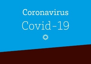 Blue Graphic That says COVID-19