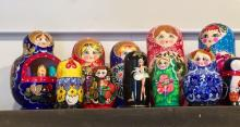 Image of the Matryoshka dolls lined up on our shelf