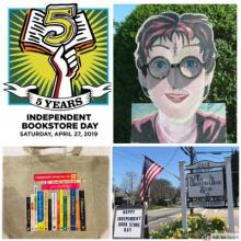 Event Photo Collage with Independent Book Store Day Logo, Harry Potter, Bag, and Garden