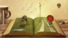 Surreal painting with a girl holding an umbrella walking a path leading through a book with a dog